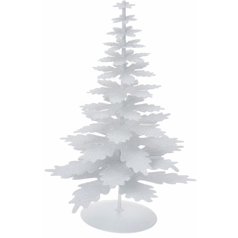 Kerstversiering kerstboom wit glitter