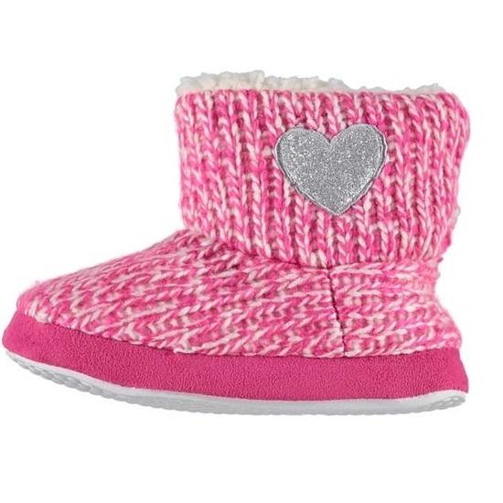 Kinder huis boots grof gebreid roze maat 25-26