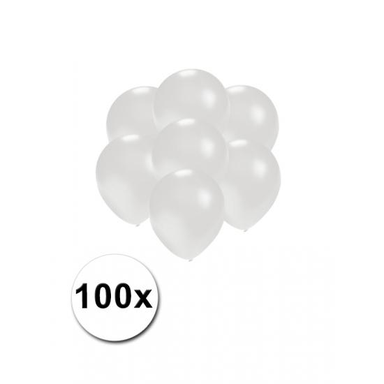 Kleine wit metallic ballonnetjes 100 stuks