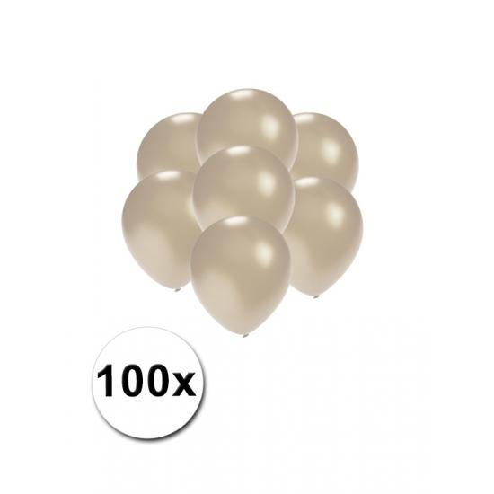 Kleine zilver metallic ballonnetjes 100 stuks