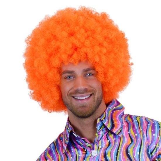 Knal oranje pruiken mega afro