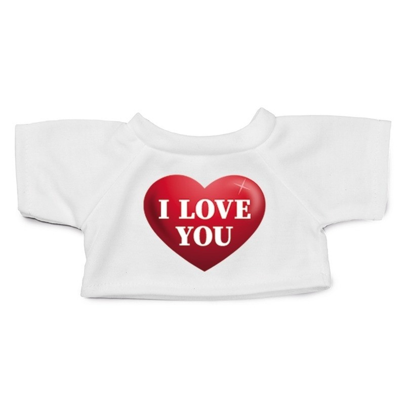 Knuffel kleding I love you hartje t-shirt wit M voor Clothies k