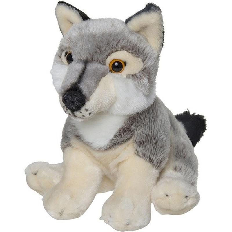 e3d0258f213e15 Pluche grijze wolf knuffel 22 cm speelgoed. grijs knuffel wolfje met  kraalogen. formaat: