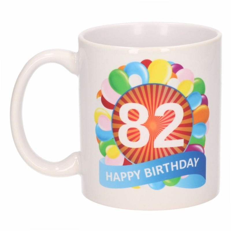 Koffiemok ballon thema 82 jaar 300 ml