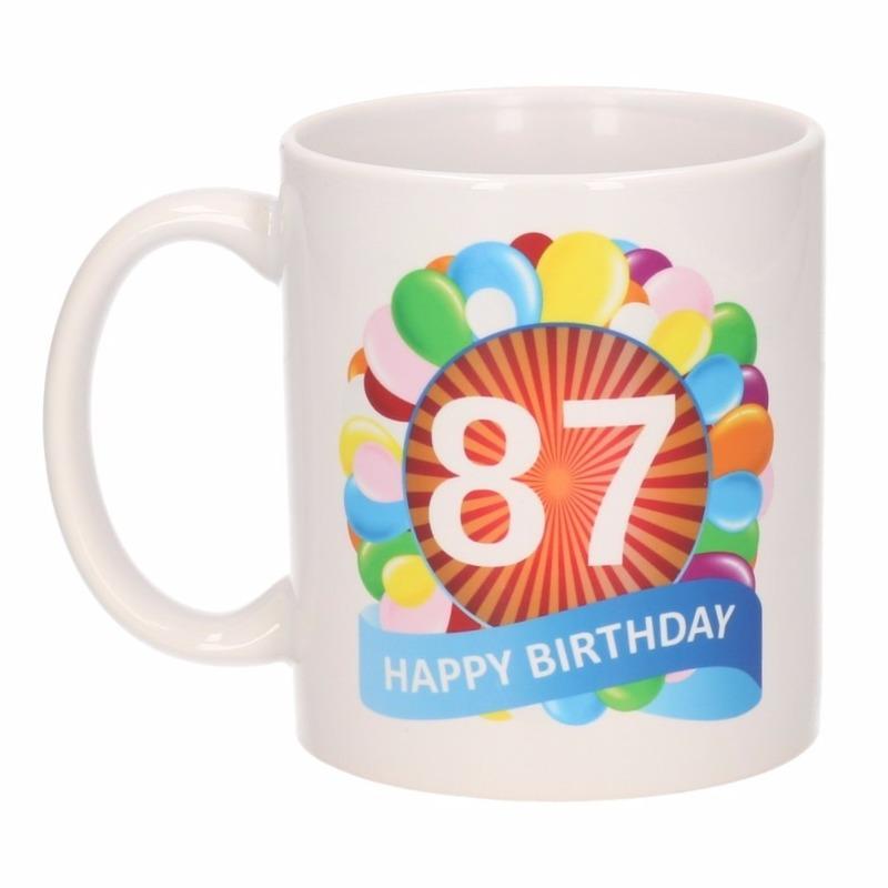Koffiemok ballon thema 87 jaar 300 ml