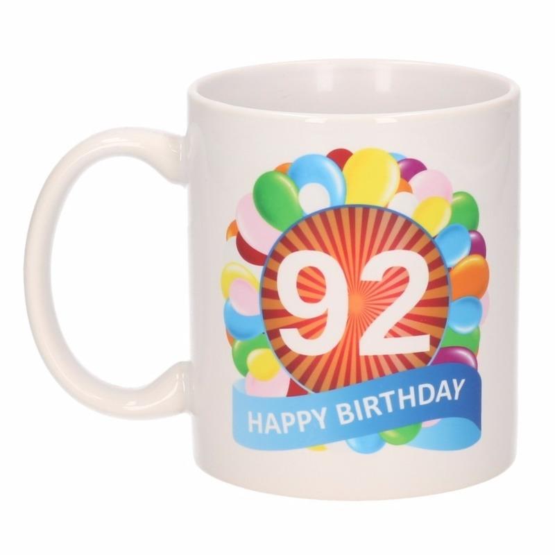 Koffiemok ballon thema 92 jaar 300 ml