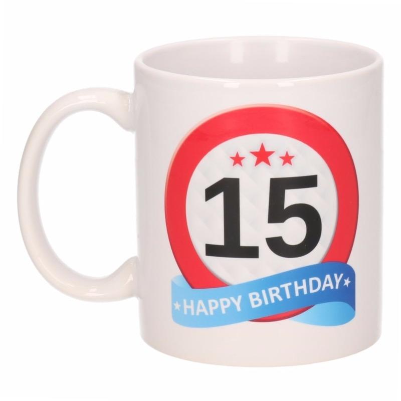 Koffiemok verkeersbord thema 15 jaar 300 ml
