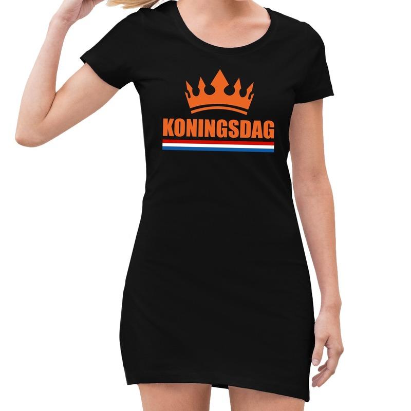 Koningsdag kroon jurkje zwart dames