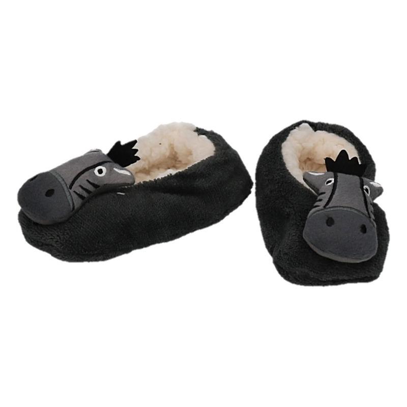 Kraamcadeau antraciet kinderslofjes/pantoffels nijlpaard