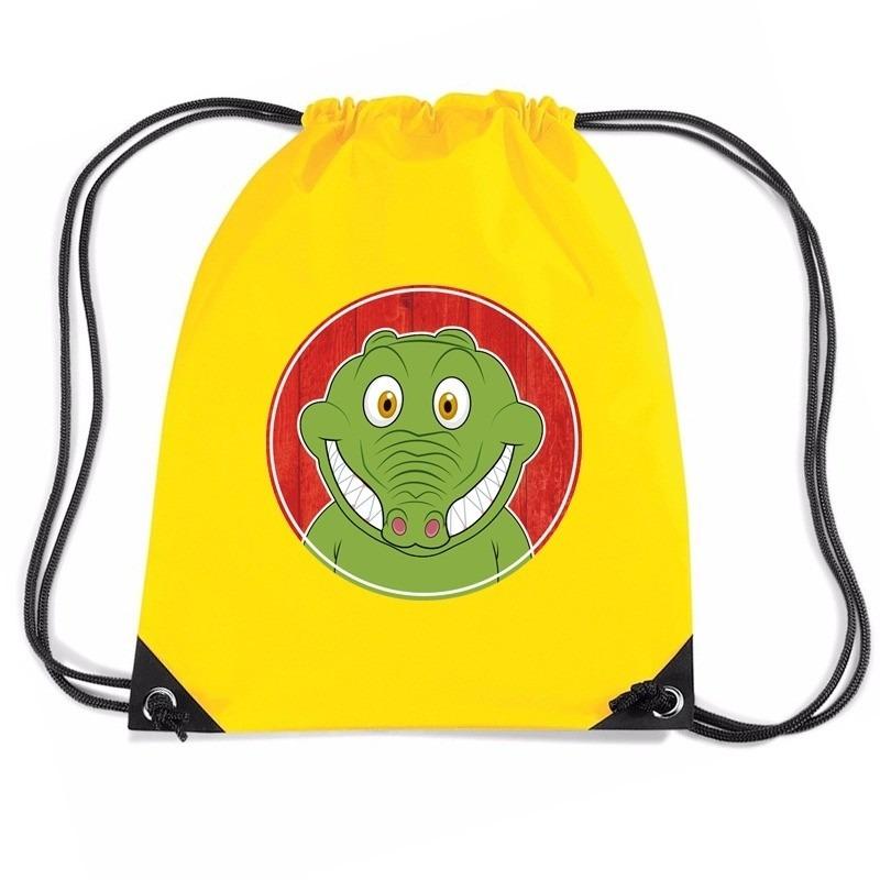 Krokodillen rugtas / gymtas geel voor kinderen