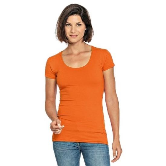Lang dames t-shirt oranje met ronde hals