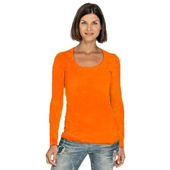 Lange mouwen oranje dames shirt