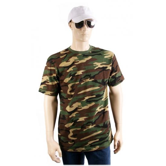 Legerprint t-shirt korte mouwen voor heren