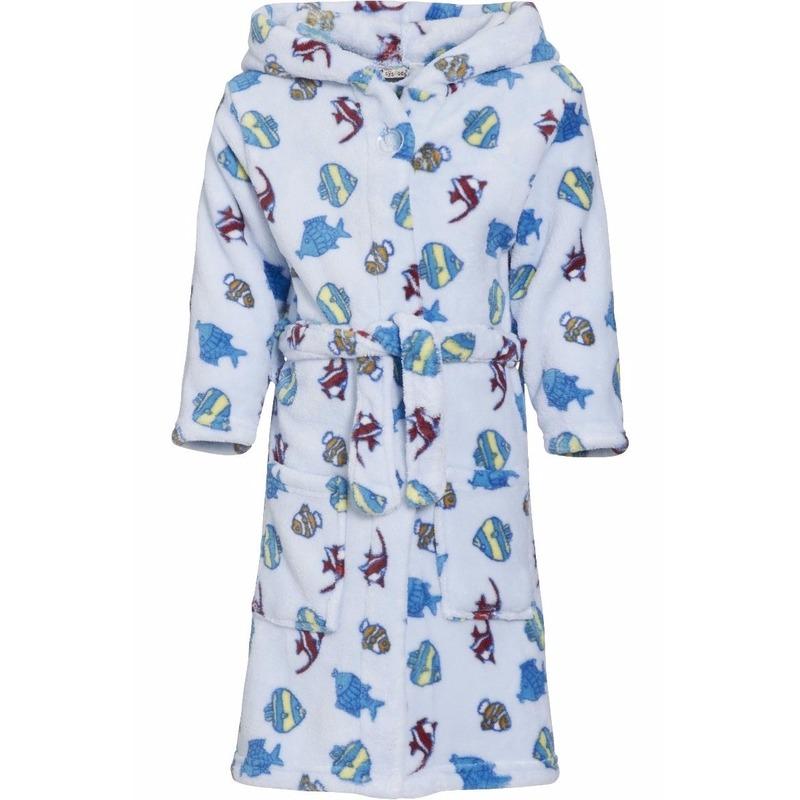 Lichtblauwe badjas/ochtendjas met vissen print voor kinderen.