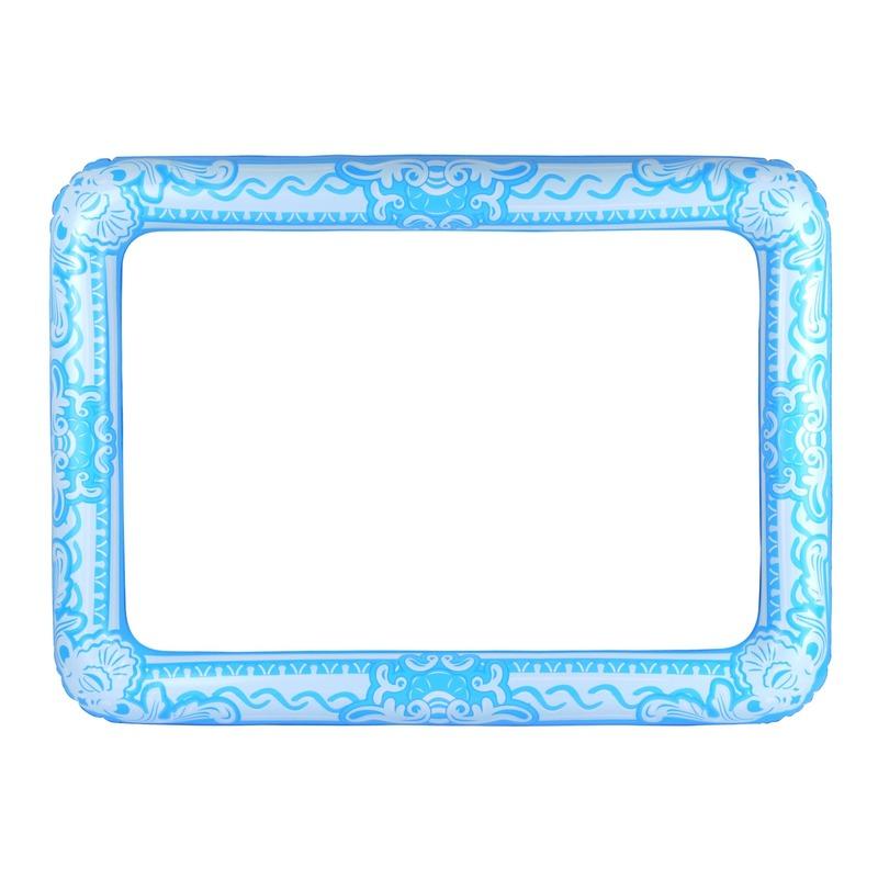 Lichtblauwe foto prop opblaasbare fotolijst 60 x 80 cm
