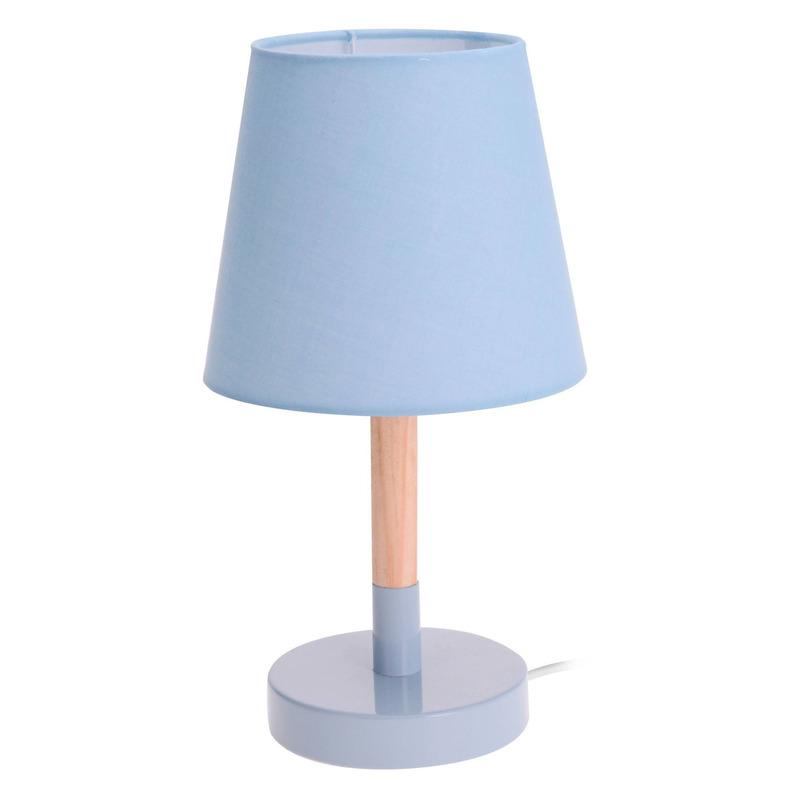 Lichtblauwe tafellamp-schemerlamp hout-metaal 23 cm