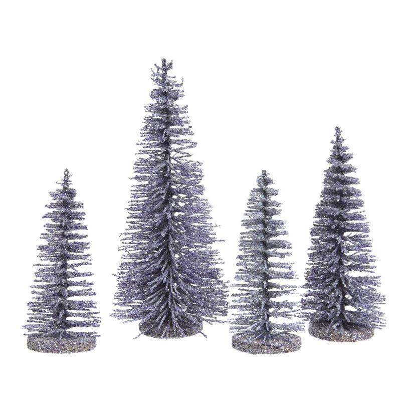 Lila kleine paarse sier kerstboompjes 15 cm 4 stuks