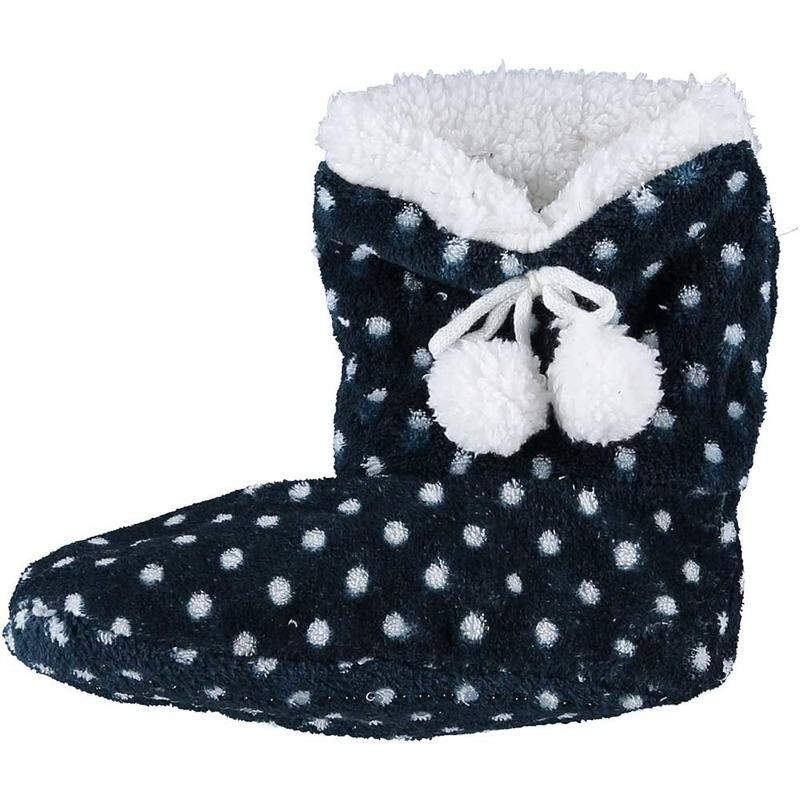 Meisjes hoge sloffen/pantoffels stippenprint blauw maat 28-30