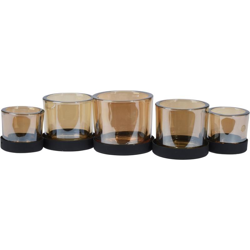 Metalen theelichthouders-waxinelichthouders met 5 glazen 36 cm