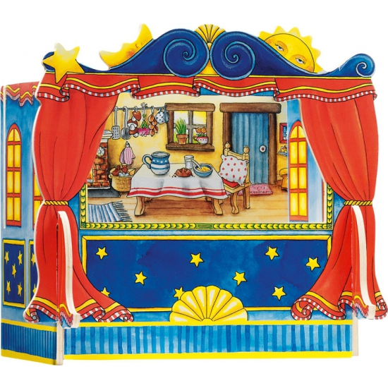 Mini poppen theater van hout