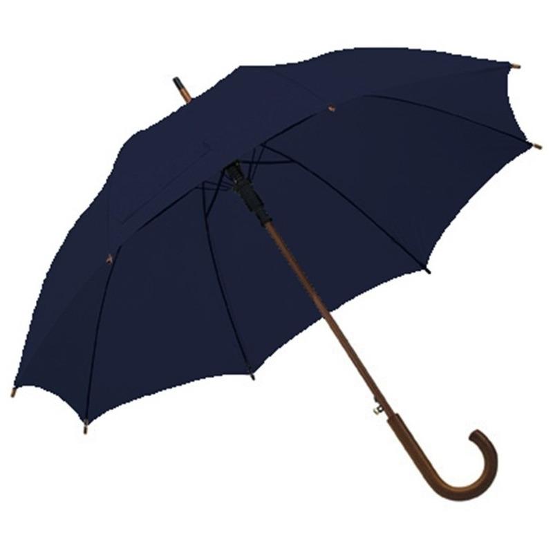 Navy blauwe paraplu met houten handvat 103 cm