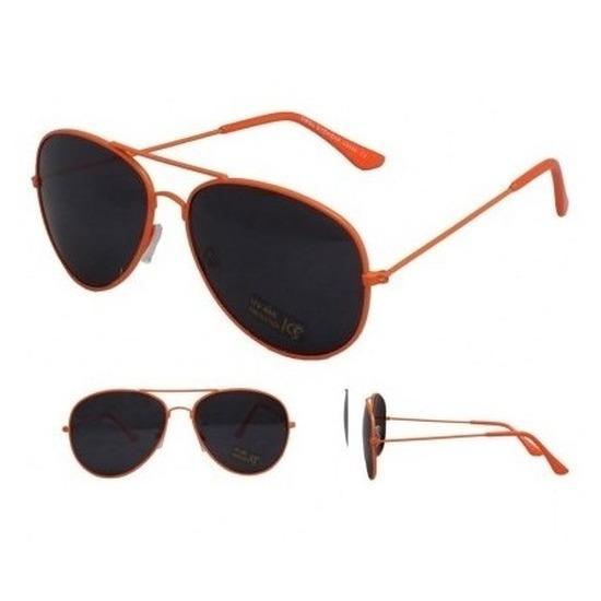 Neon oranje aviator feestbril voor dames-heren