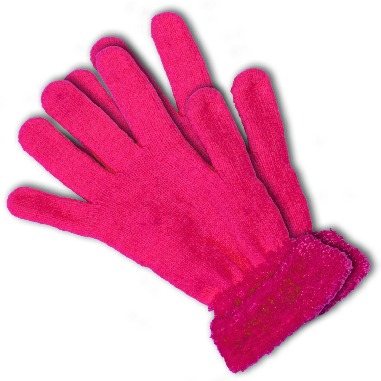 Neon roze verkleed dames handschoenen