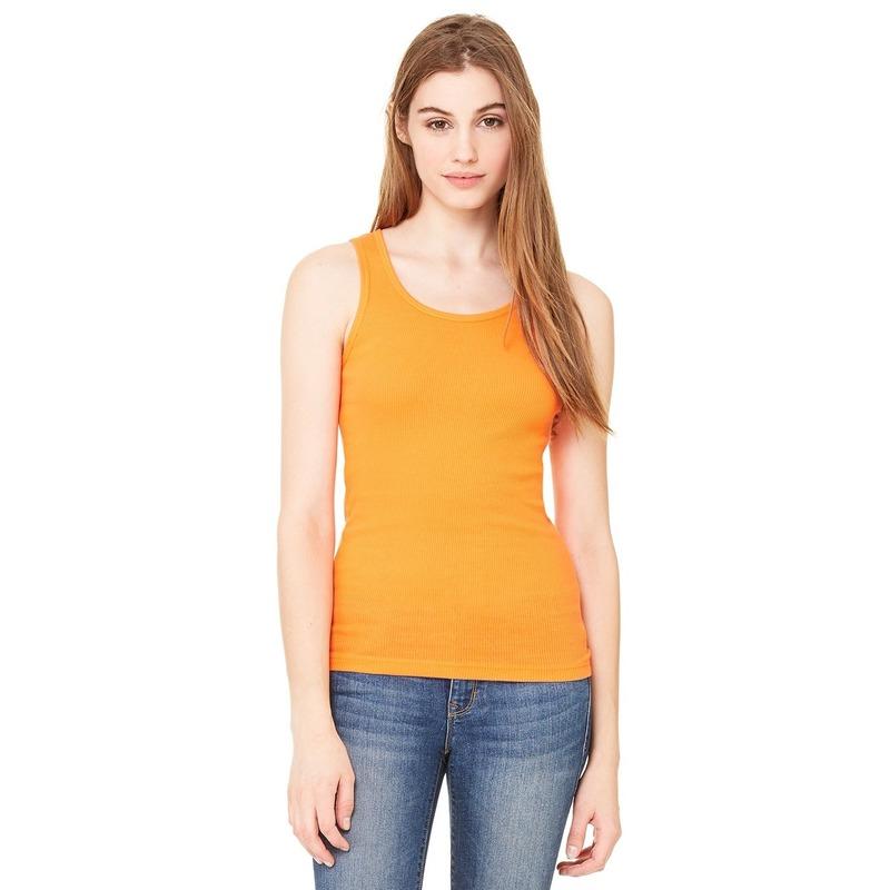 Oranje dames rib shirt zonder mouwen