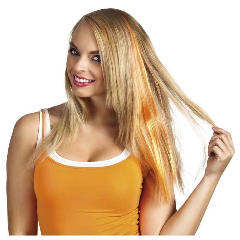 Oranje haar extensie voor dames
