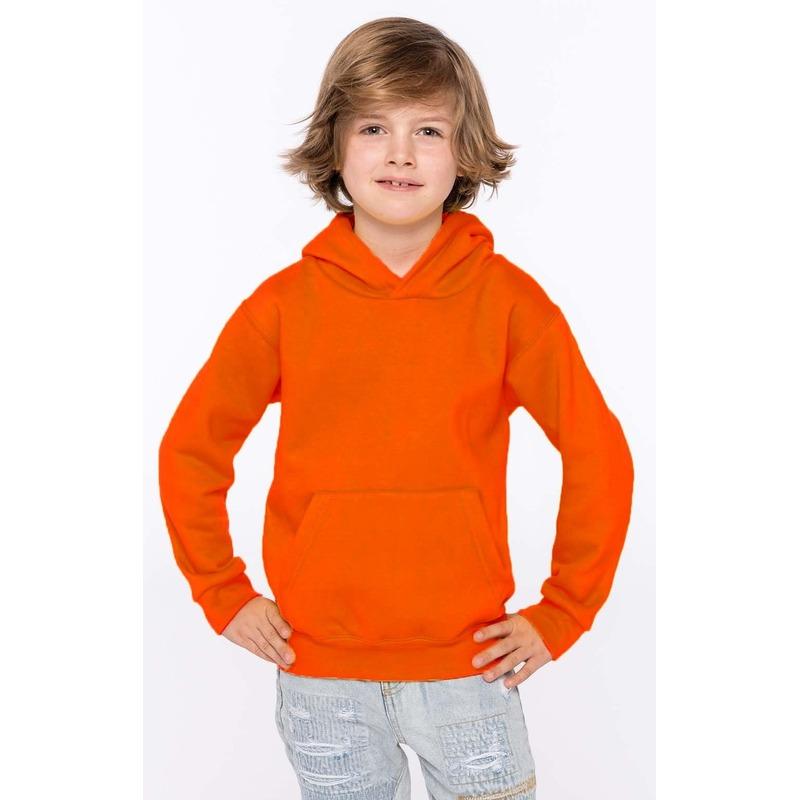 Oranje hooded sweater/trui voor jongens