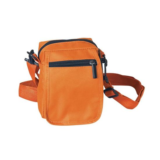 Oranje kleine schoudertasje van polyester 15 cm