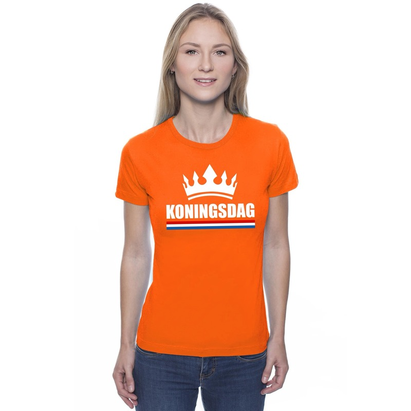 Oranje Koningsdag met een kroon shirt dames