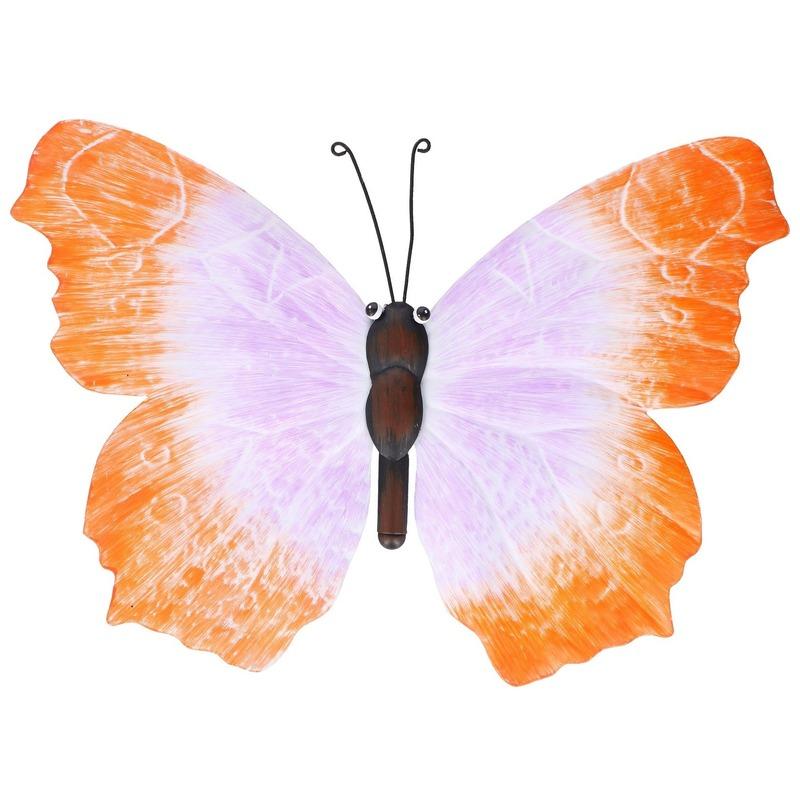 Oranje-lila schutting decoratie vlinder 40 cm