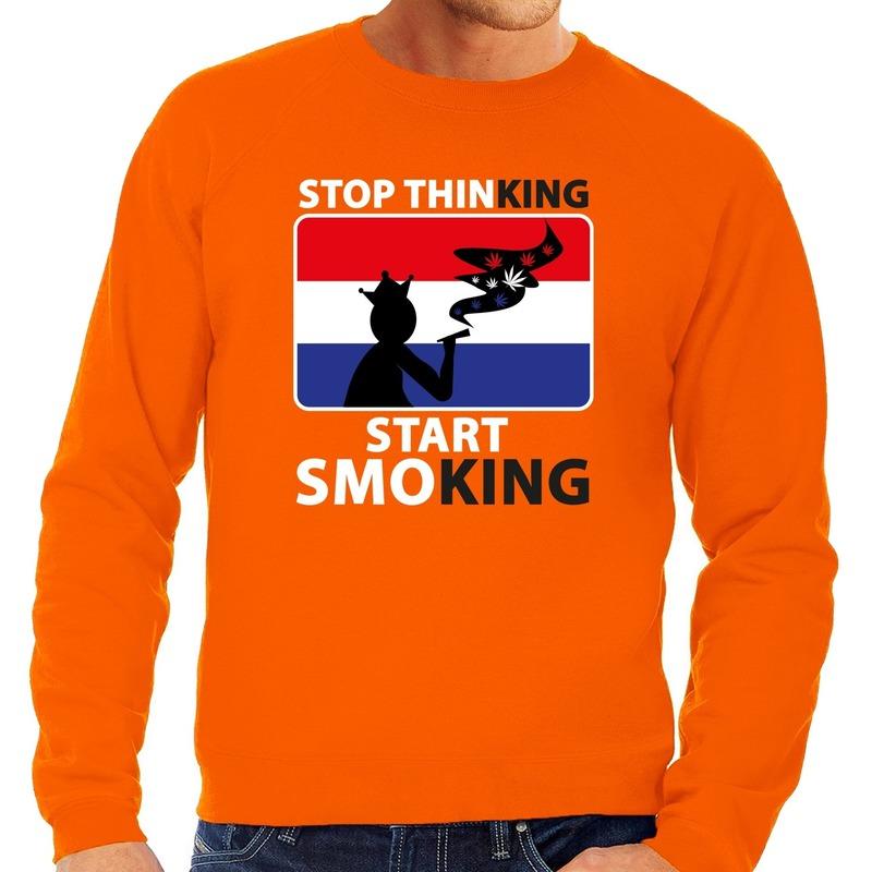 Oranje Stop thinking start smoking sweater heren