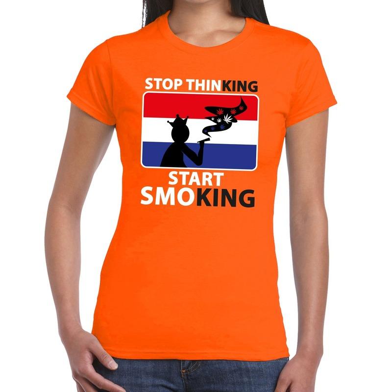 Oranje Stop thinking start smoking t-shirt dames