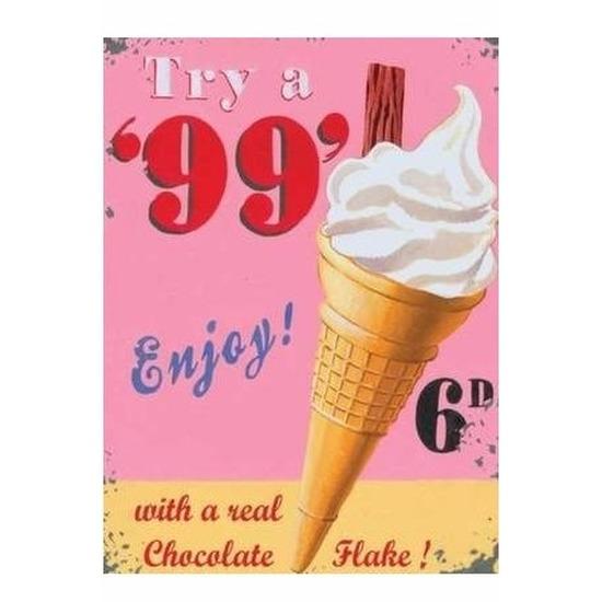 Ouderwets soft ijsje wandplaat Enjoy Icecream 15 x 20