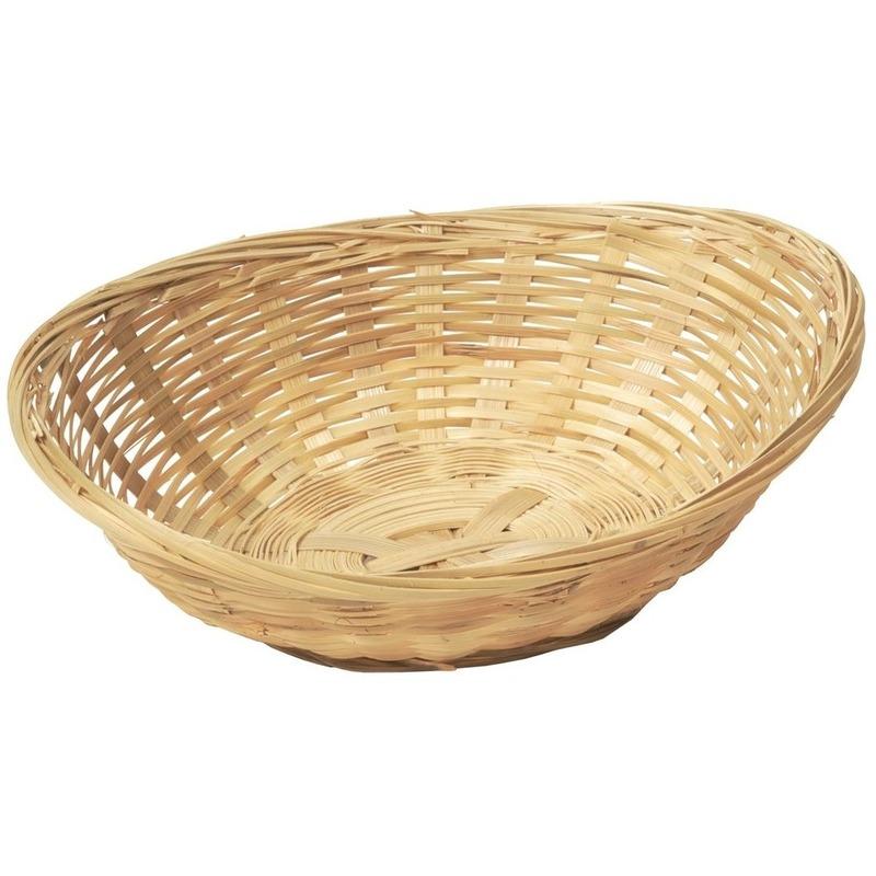 Ovale rieten-bamboe mand-schaal 22 x 17 x 7 cm