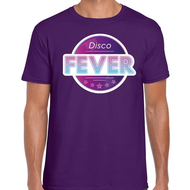 Party 70s-80s-90s feest shirt met disco thema paars voor heren