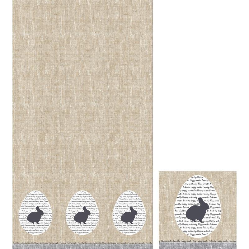 Pasen thema feest servetjes en tafellakens-tafelkleden paashaas-paaskonijn print grijs-beige