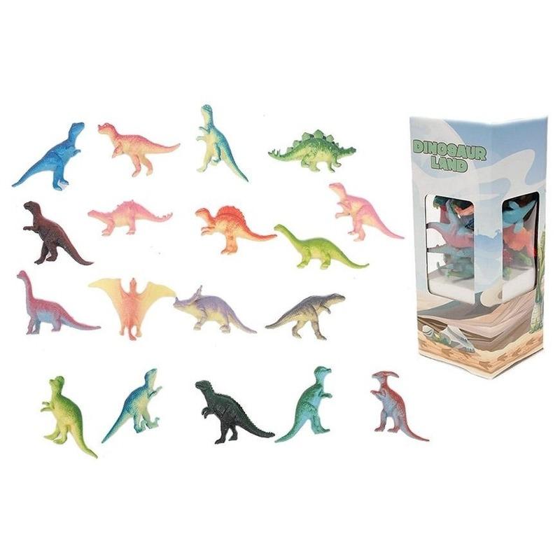 Plastic dino gekleurd 18 stuks