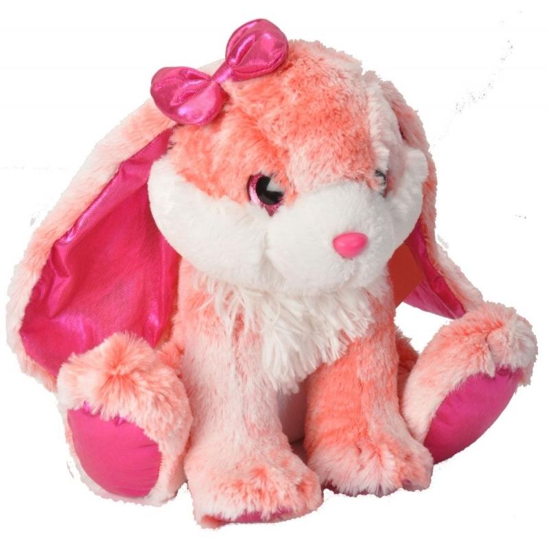 Pluche knuffeltje konijn roze/wit konijn 30 cm