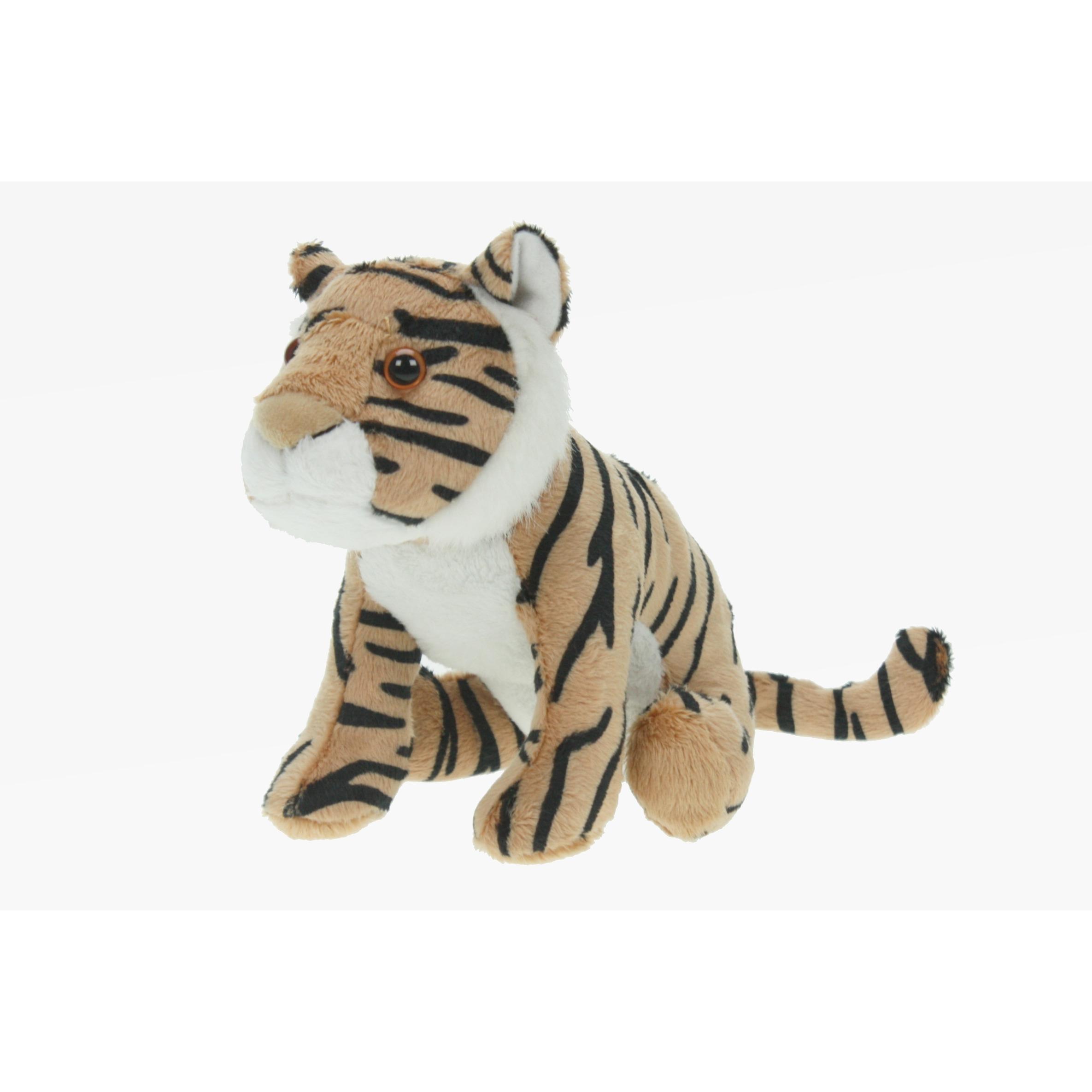 Pluche tijger knuffel bruin 23 cm speelgoed knuffeldier