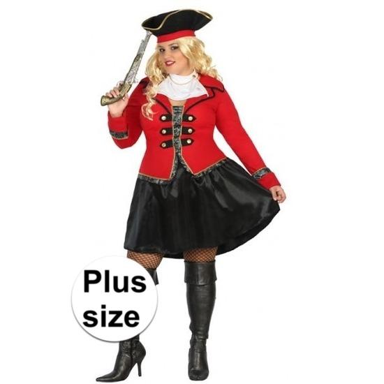 Plus size carnaval piraten verkleedkleding Kapitein Grace voor dames