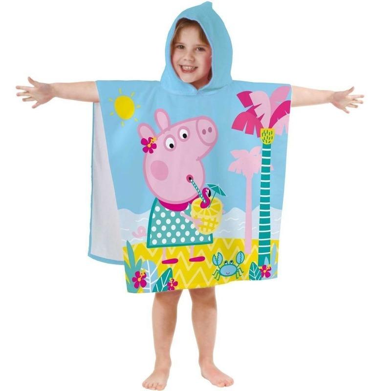 Poncho handdoek met Peppa Big print 60 x120 cm