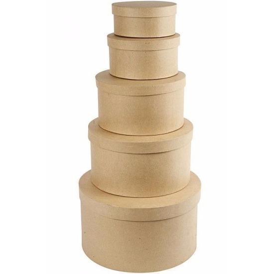 Ronde bruine hobby opslag doos-dozen 15 cm