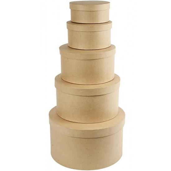 Ronde bruine hobby opslag doos-dozen 25 cm