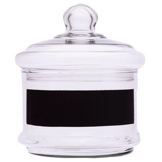 Ronde glazen pot met deksel en krijtvlak 15 x 15 cm