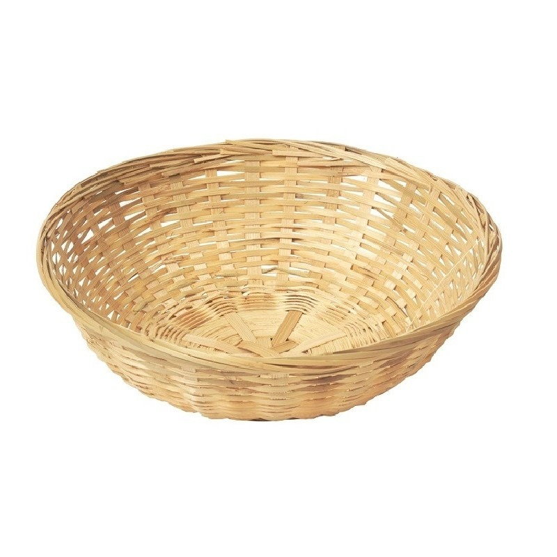 Ronde rieten-bamboe mand-schaal 22 x 8 cm
