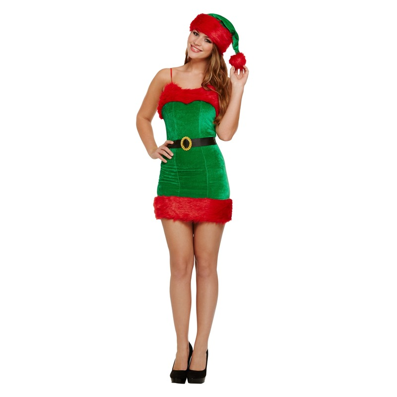 b21cb0a8d02453 een rood groene korte sexy kerstelf jurk geschikt voor dames de jurk is  gemaakt van