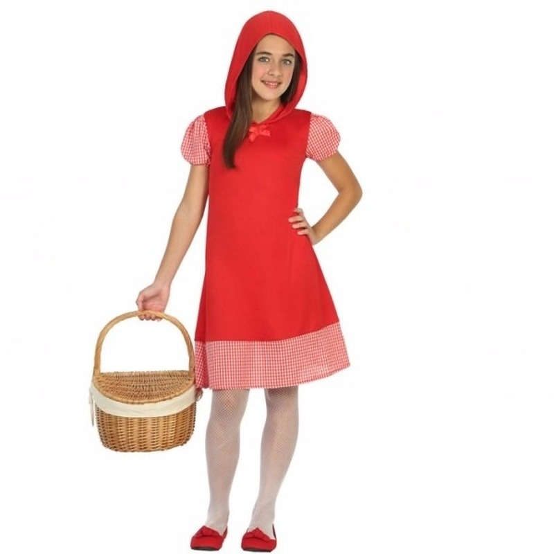 0bcd9caa3261a8 Roodkapje verkleedjurkje voor meisjes. rood jurkje met capuchon en geruite  pofmouwtjes en bies aan de